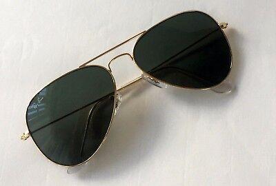 New Ray Ban Aviator RB 3025 L0205 gold/green size medium 58 mm sunglasses (Ray Ban Polarized Aviators Womens)