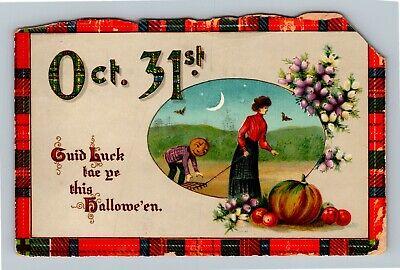 HALLOWEEN Vintage Postcard Oct. 31st Lady Raking JOL Plaid Border Moon Bats