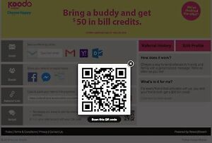 Koodo Mobile, open account and get $50 credits