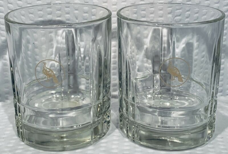 "Lot Of 2 ~ 4 1/8"" Vintage Diamond Cut Wild Turkey Whiskey Glasses ~ EC"
