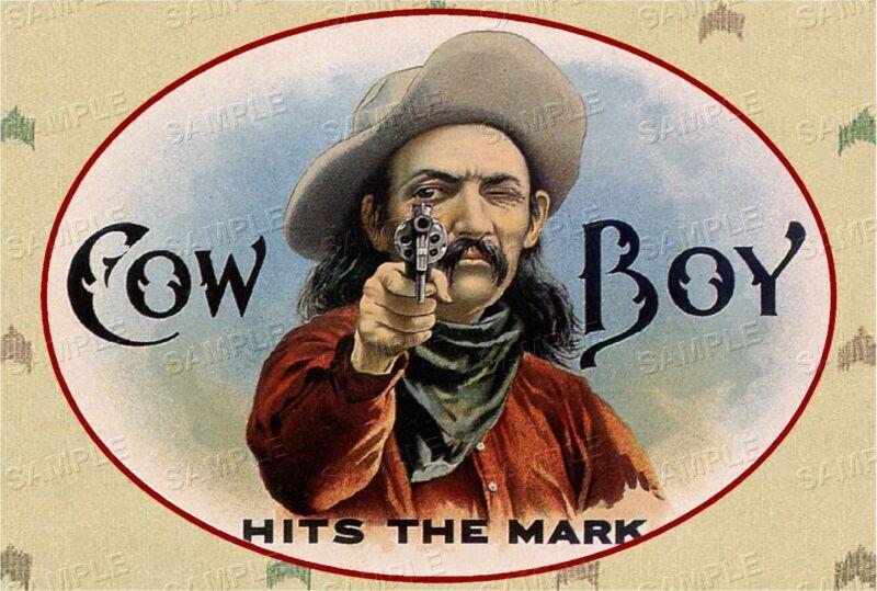 VINTAGE Western COWBOY Antique Era *CANVAS* Cigar Box Label Art  ~  LARGE