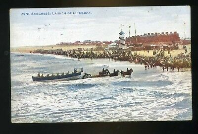SKEGNESS  Launch of the LIFBOAT from beach using horses   coloured