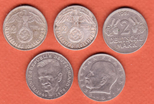 c270   Germany, five diff 2-Mark coins, 1937-1987 (2 silver)
