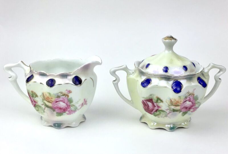 Vintage Porcelain Creamer and Covered Sugar Bowl Set Made In Germany Red Roses