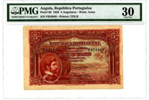 "Angola .. P-66... 5 Angolares .. 1926 ..*VF-XF*. PMG 30.. (VF-XF). Prefix ""F""."