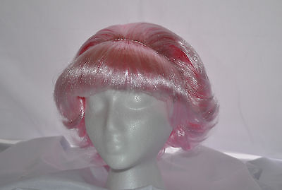 Frenchy Grease Wig (NEW Women Grease Pink Frenchie Sexy Adult 1950's Short Curly Hair)