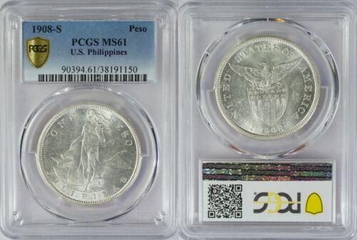 1908-S US/Philippines Peso ~ PCGS MS61 ~ Allen#17.03 ~  Full White ~ 150