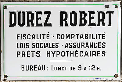 Old French enamel building sign plaque notice accountant tax law Robert Durez