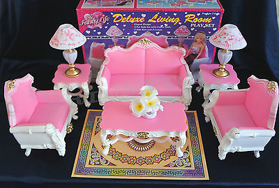 GLORIA DOLLHOUSE FURNITURE Deluxe LIVING ROOM W SOFA Vase PLAYSET FOR BARBIE