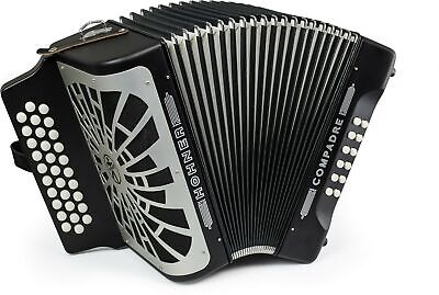 Hohner Compadre Diatonic Accordion FBE Red Bundle w/ Hohner Road Kit Bag, Straps