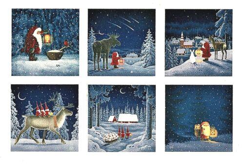 "Set of 6 Coasters: Eva Melushius 3 3/4"" square Cork Backing, Scandinavian gnomes"