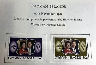 Mint NH CAYMAN ISLANDS Queen Elizabeth 1972 Silver Wedding Anniversary Stamps