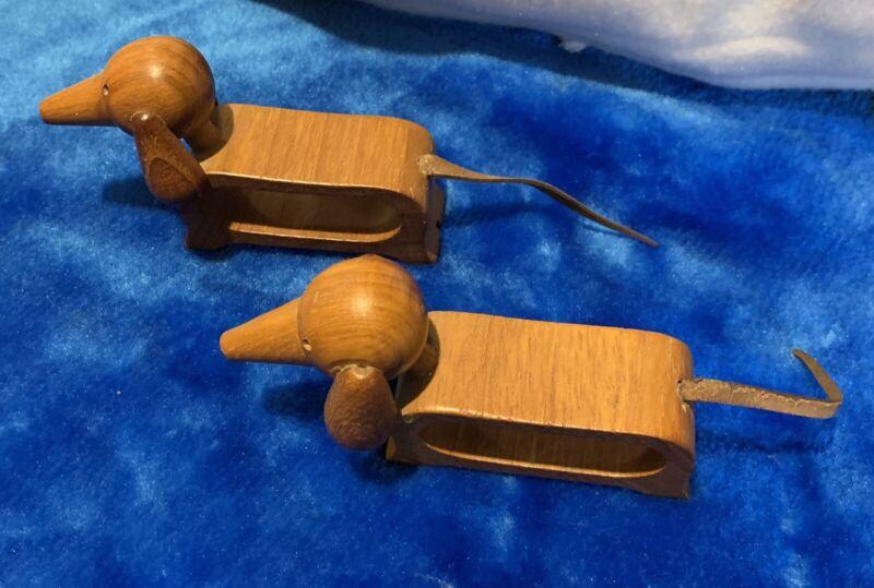 Vintage Dogs Mid Century Genuine Oval Teak Wood Napkin Rings Set Of 2 w/Label