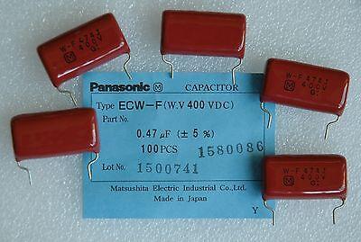 5 Pcs 400v 0.47uf 474k 0.47mfd Panasonic Ecwf Series Polypropylene Capacitor New