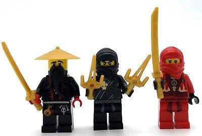 LEGO LOT OF 3 NINJAGO MINIFIGURES SAMARAI FIGURES W/ GOLD SWORD WEAPON ASSASSINS