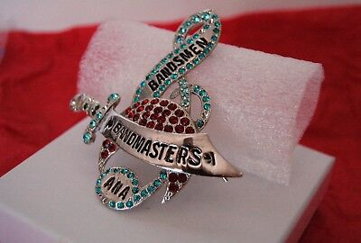 Antique 3D BANDMASTERS/BANDSMEN ANA BADGE with SWORD & RHINESTONES 3'' x 3''