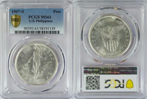 1907-S US/Philippines Peso ~ PCGS MS61 ~ 80% Silver ~ Allen#17.01 ~ 1139