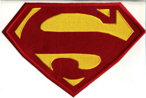 """7.8"""" x 11.8""""  X-Large Embroidered Superman Red & Yellow Chest Logo Iron-on Patch"""