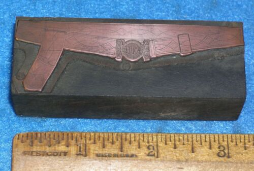 Antique POLICE BELT & BUCKLE Copper Printing Block * MC LILLEY Catalog Style #3