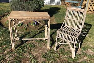 Rustic Vintage Cane Table and Chair