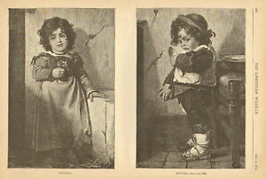 Children-Family-Scene-With-Text-Vintage-1874-Original-Antique-Art-Print