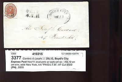 Scott #20L12 BOYD'S CITY EXPRESS Used Stamp On Nice Cover (Stock #20L12-1)