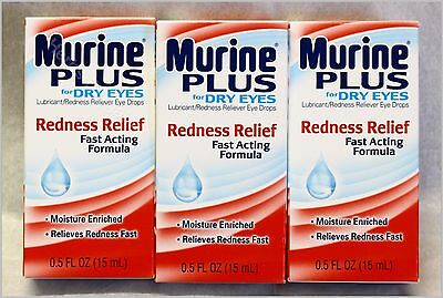 Dry Eye Relief Drops (3X Murine Plus Eye Drops Redness Relief For Dry Eyes New Sealed Free Shipping )