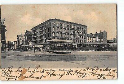 Harrisburg Pennsylvania PA Postcard 1907 Market Square Street Scene Trolley