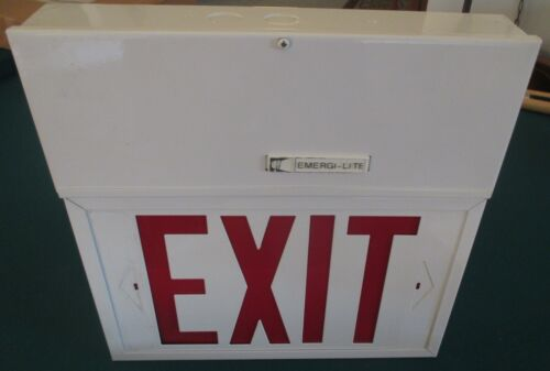 """Emergi-Lite WSMX14G Powered Battery Exit Sign Rechargeable 12"""" Red EXIT 120V"""