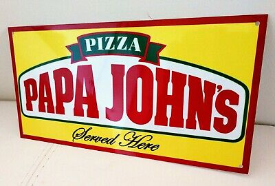 Papa Johns Johns Pizza Served Here Sign .. Restaurant Fast Food