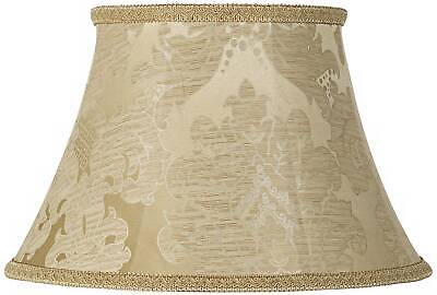 """Ivory Brocade Large Lamp Shade 10"""" Top x 17"""" Bottom x 11"""" High (Spider)"""