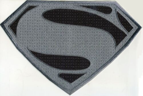 """7.8"""" x 11.7"""" X-Large Superman Man of Steel Antique Silver & Black Chest Patch"""