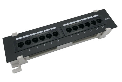 CNAweb 12 Port Vertical Cat6 110 RJ45 Patch Panel 568A 568B with Bracket
