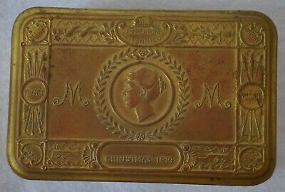 Antique British WWI Princess Mary 1914 Christmas Tin Brass Tobacco Box Gift Fund