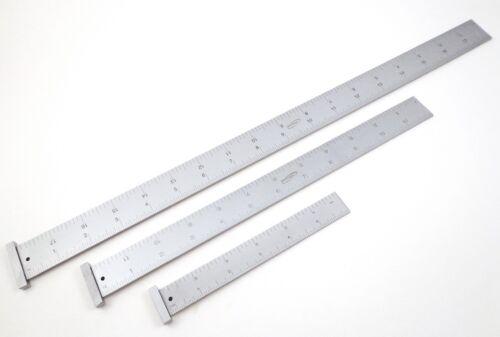 "3 pc Igaging Machinist 4R Hook Ruler / Rule 18"", 12"" & 6""  1/8, 1/16, 1/32, 1/64"