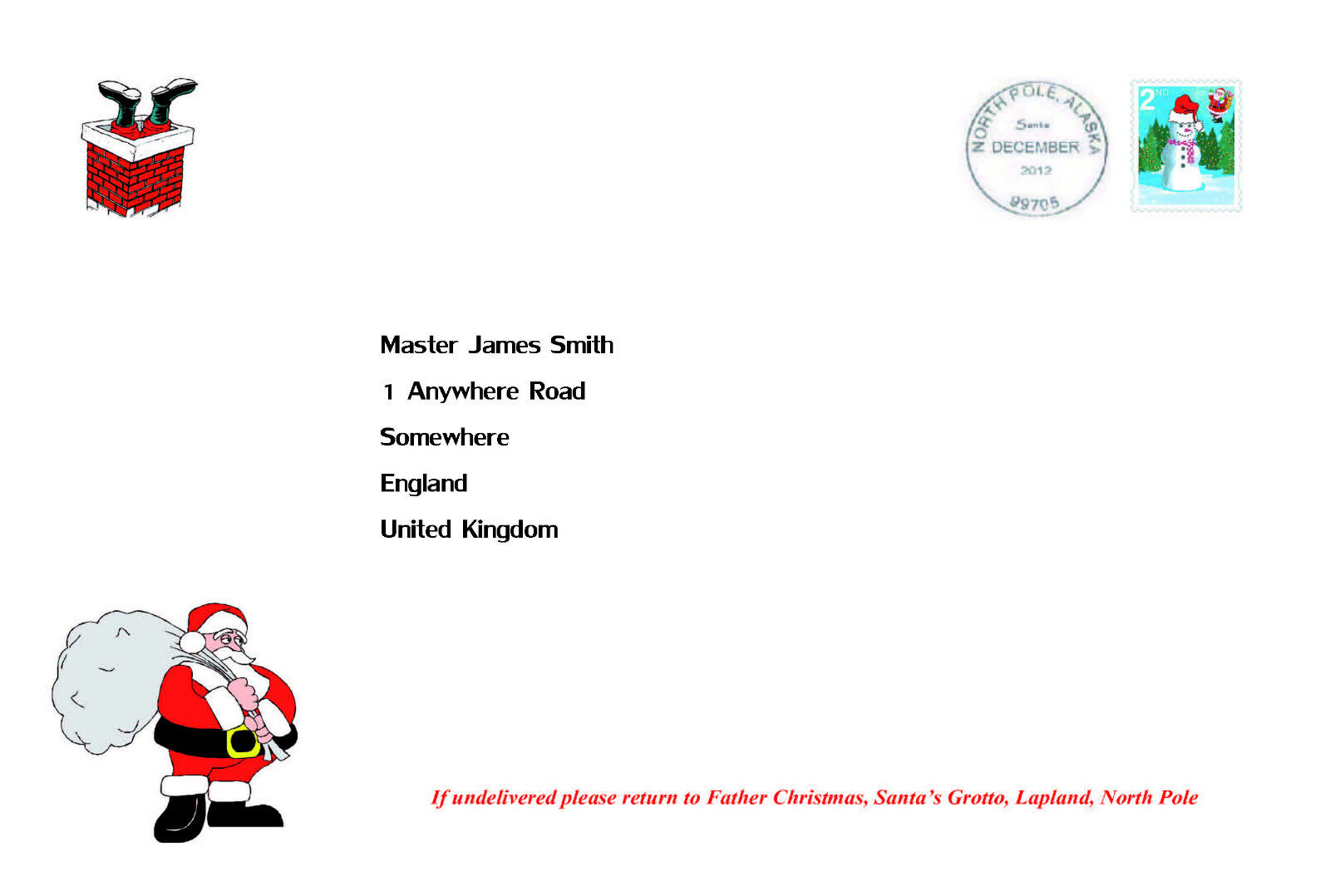 Personalised Letter from Father Christmas Santa + North Pole Envelope ...
