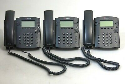 Lot Of 3 X Polycom Vvx300 Series Ip Phones W Handsets And Stands