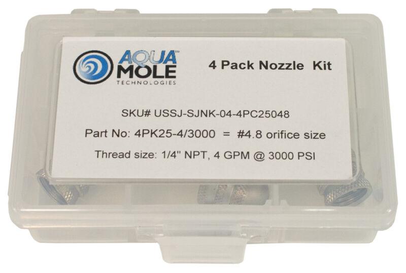 "Aqua Mole (4) Pack 1/4"" NPT Button Nose Sewer Jetter Nozzle 3000 PSI 4.8 Orifice"