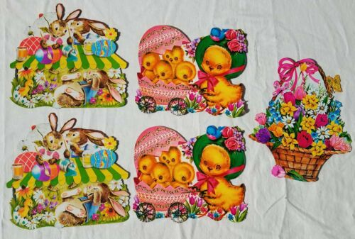 LOT Vintage Diecut EASTER Wall Decoration Bunny Rabbit Chick Decor Cute 1960s