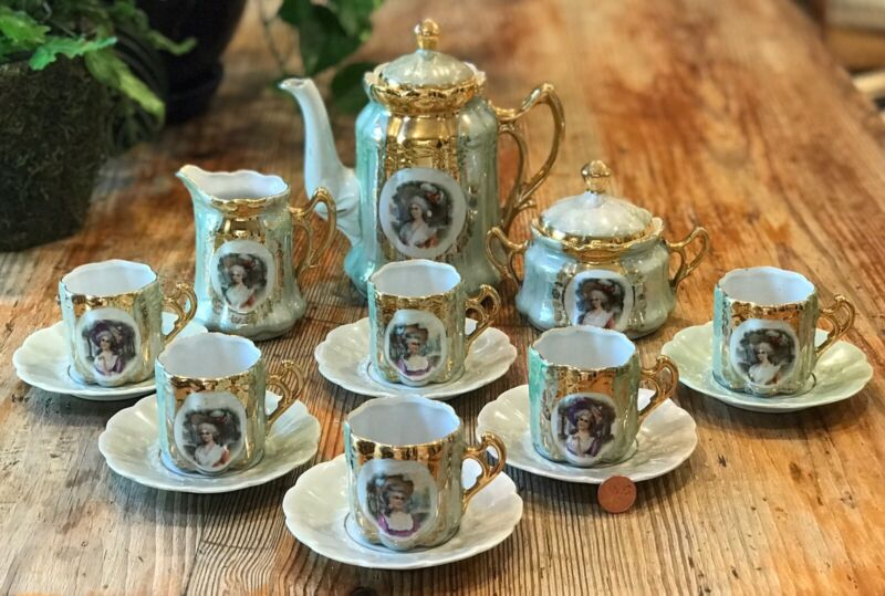 Antique 15pc German Lusterware Clover Gold Tea Set Cup Saucer Teapot Sugar Cream