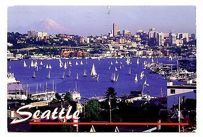 Seattle Washington Postcard Lake Union Mount Rainier Sailing Boats Sailboats