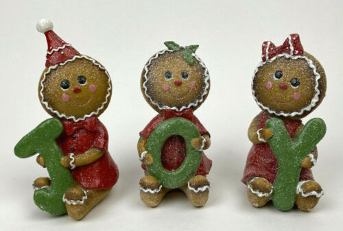 3 Retired GINGERBREAD People JOY Christmas Figurines Set VALERIE PARR
