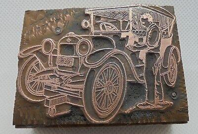 Vintage Printing Letterpress Printers Block Man Cleaning His Car