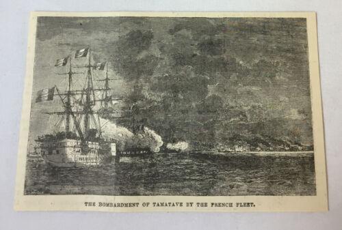 1885 magazine engraving ~ BOMBARDMENT OF TAMATAVE BY FRENCH FLEET, Madagascar