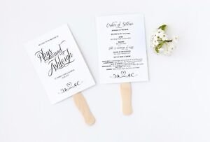 50 DIY Rustic White Vintage Shabby Chic Wedding Order of Service Fans / Sticks!
