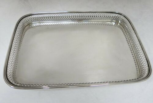 "Buccellati Sterling Silver Tray. 12.75"" x 9.25"" Drinks Or Serving Gallery Tray."