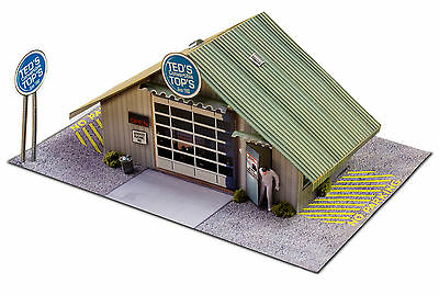 1/64 Slot Car HO Commercial Garage Photo Real Kit Track Layo
