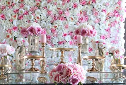 Flower wall for hire (pink and white) $110