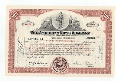 1968 The American News Company Stock Certificate