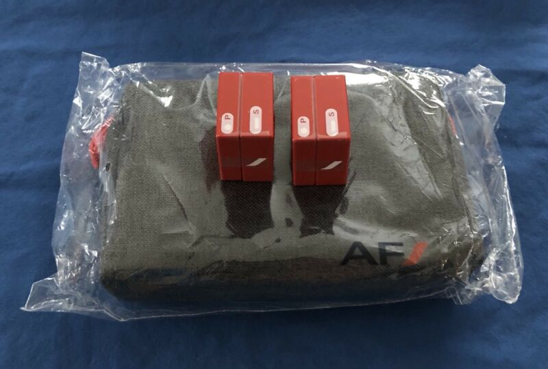 NEW Salt & Pepper Shakers Air France Amenity Kit Premium Economy Toothbrush Mask